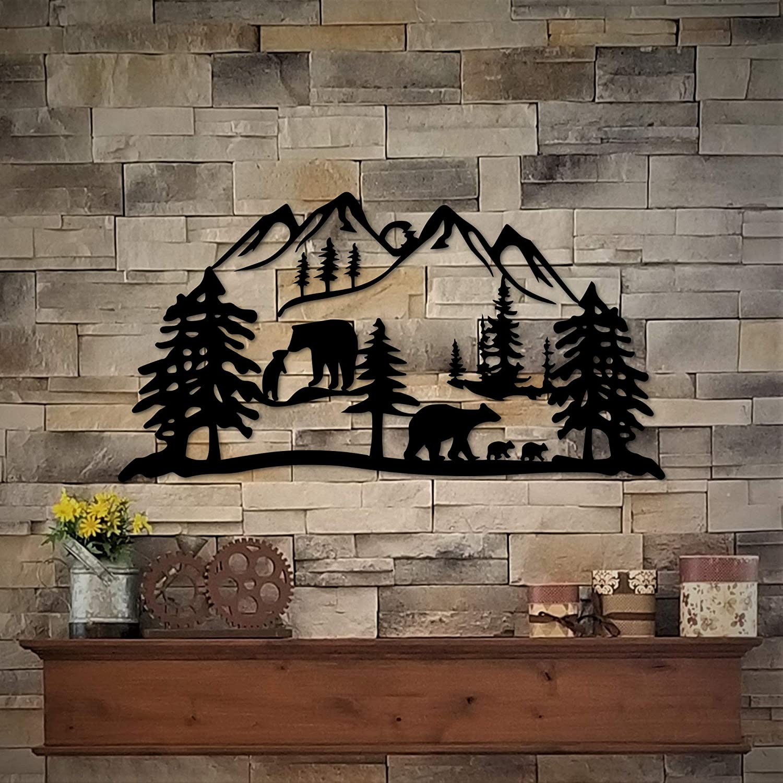 Tamengi Bear Decor Metal Wall Art - Bears and Bear Cubs Wildlife Art Rustic Decor - Mountain Cabin Decor - Bathroom Light Bear Lake House Cutout