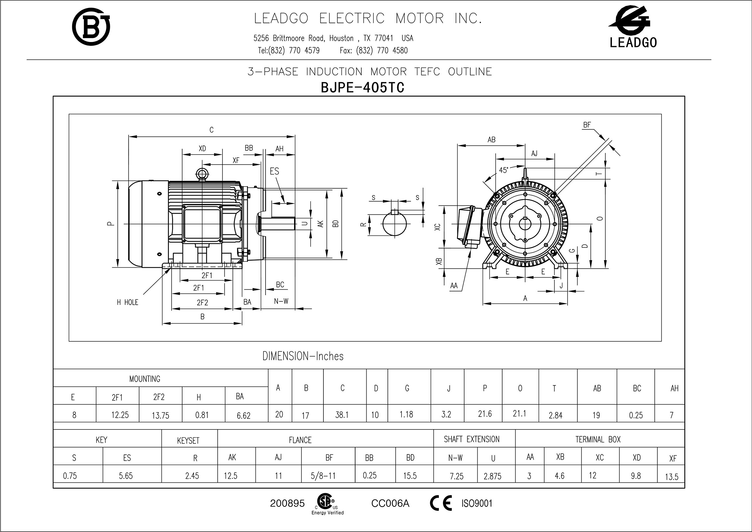 Tools Home Improvement Leadgo Bjpe100 18 405tc Nema Premium Skf Wiring Diagram Efficiency Severe Duty And General Purpose Electric Motor Bearing 100hp 3 Phase