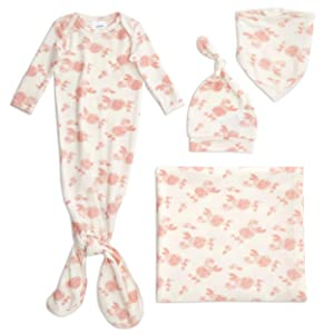 aden + anais Snuggle Knit Newborn Gift Set with Knotted Baby Gown, Swaddle Blanket, Infant Hat, and Bandana Bib, 0-3 Months, Rosettes