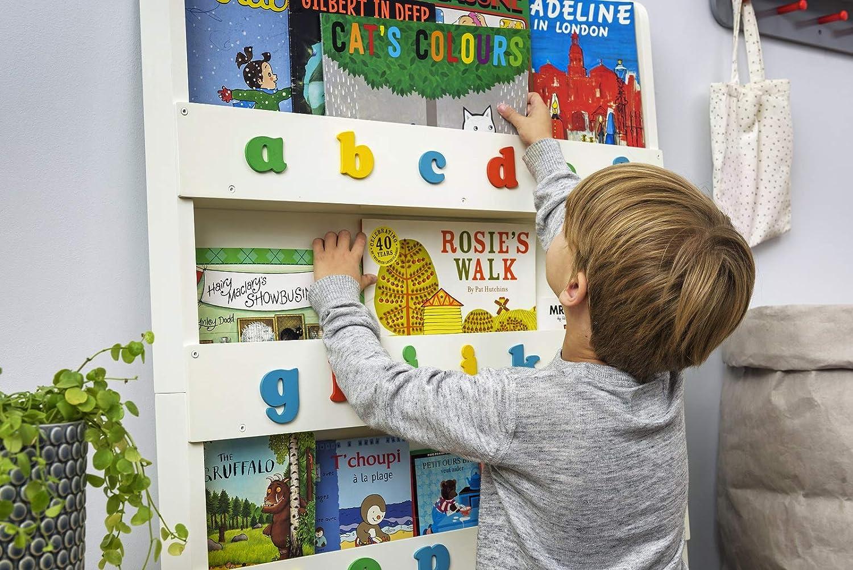 Tidy Tidy Tidy Books® - Das Originale Kinder-Bücherregal in Weiß mit Alphabet - Buchcover Werden präsentiert - Schmales Regal fürs Kinderzimmer - Ideale Kinderbücher Aufbewahrung - 115 x 77 x 7 cm e6ff9f