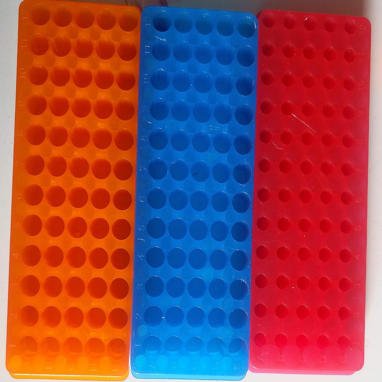 KINNOSE Tube Rack Double Panel 60-Well Polypropylene PCR Centrifuge Tube Holder for Microcentrifuge Tubes 0.2//0.5//1.5//1.8//2.0ml 3Pcs