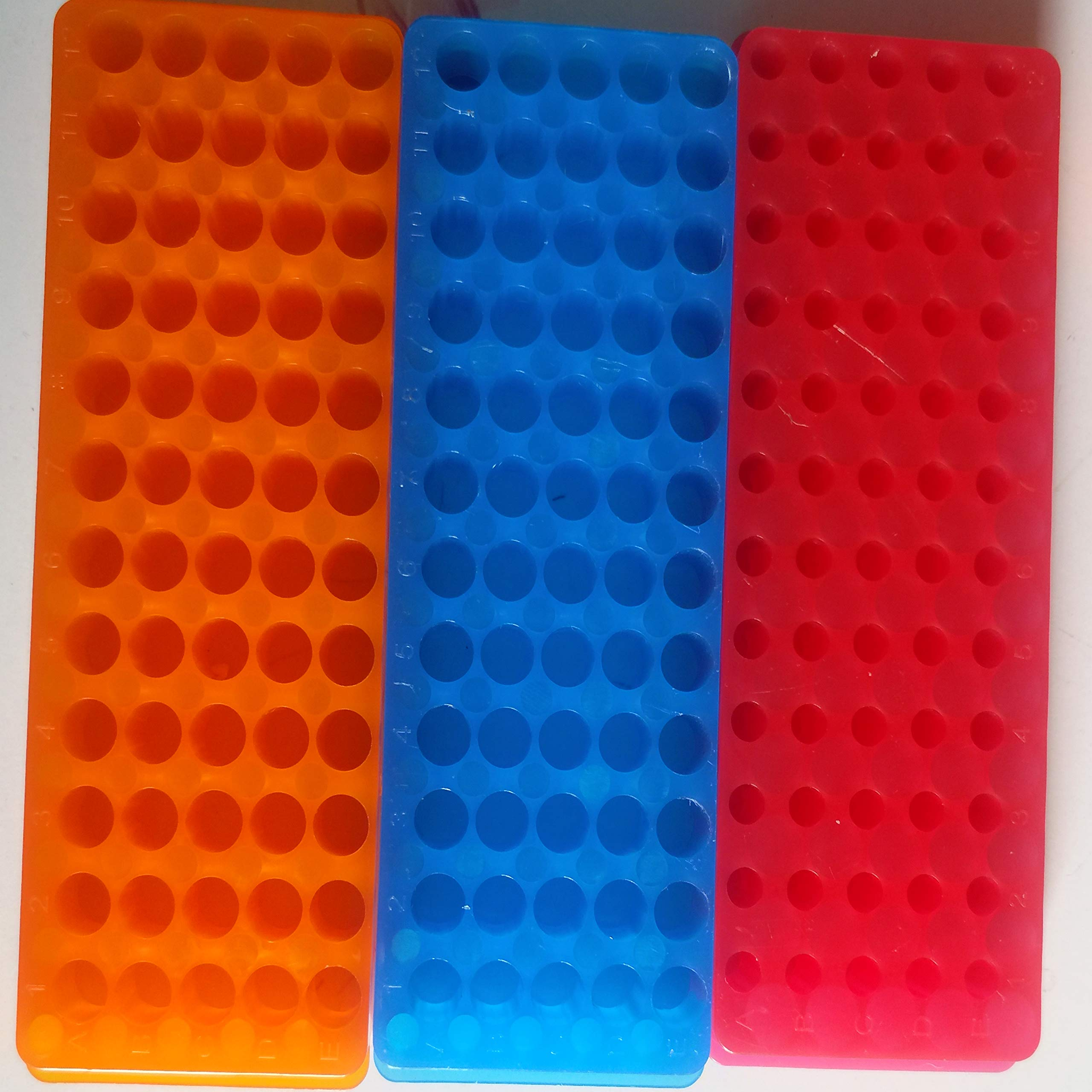 KINNOSE Tube Rack Double Panel 60-Well Polypropylene PCR Centrifuge Tube Holder for Microcentrifuge Tubes 0.2/0.5/1.5/1.8/2.0ml 3Pcs by KINNOSE