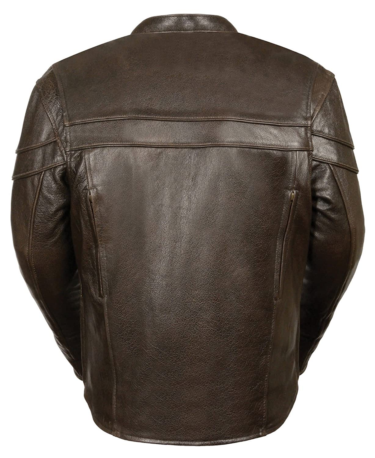 Mens Retro Brown Leather Vented Sporty Scooter Crossover Jacket with Gun Pockets