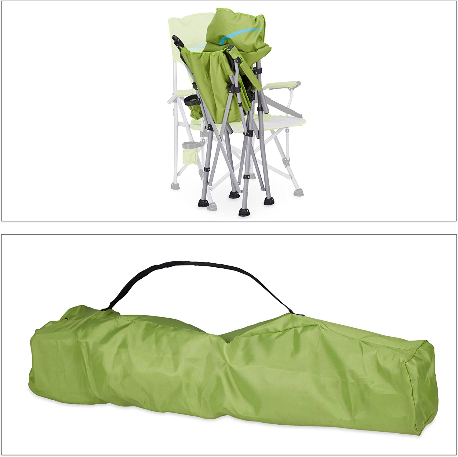 H x W x D: 102 x 66 x 61 cm Foldable Fishing Seat Bottle Holder Relaxdays Folding Camping Chair Green