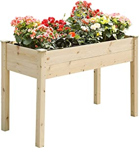 TMEE 4FT Raised Garden Bed Wooden Elevated Wood Planter Garden Box Kit for Vegetable Flower Herb Gardening Backyard Patio, Easy Assembly, 30in Height