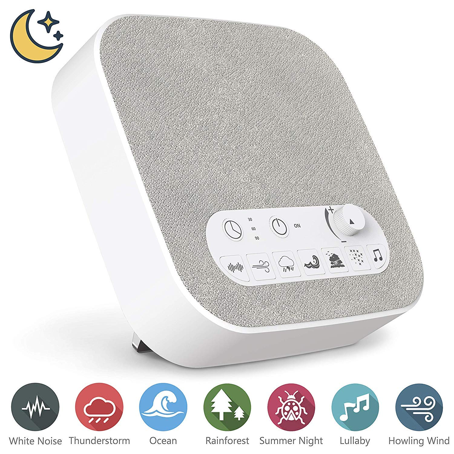 White Noise Machine for Sleeping, Aurola Sleep Sound Machine with Non-Looping Soothing Sounds for Baby Adult Traveler, Portable for Home Office Travel. Built in USB Output Charger & Timer.