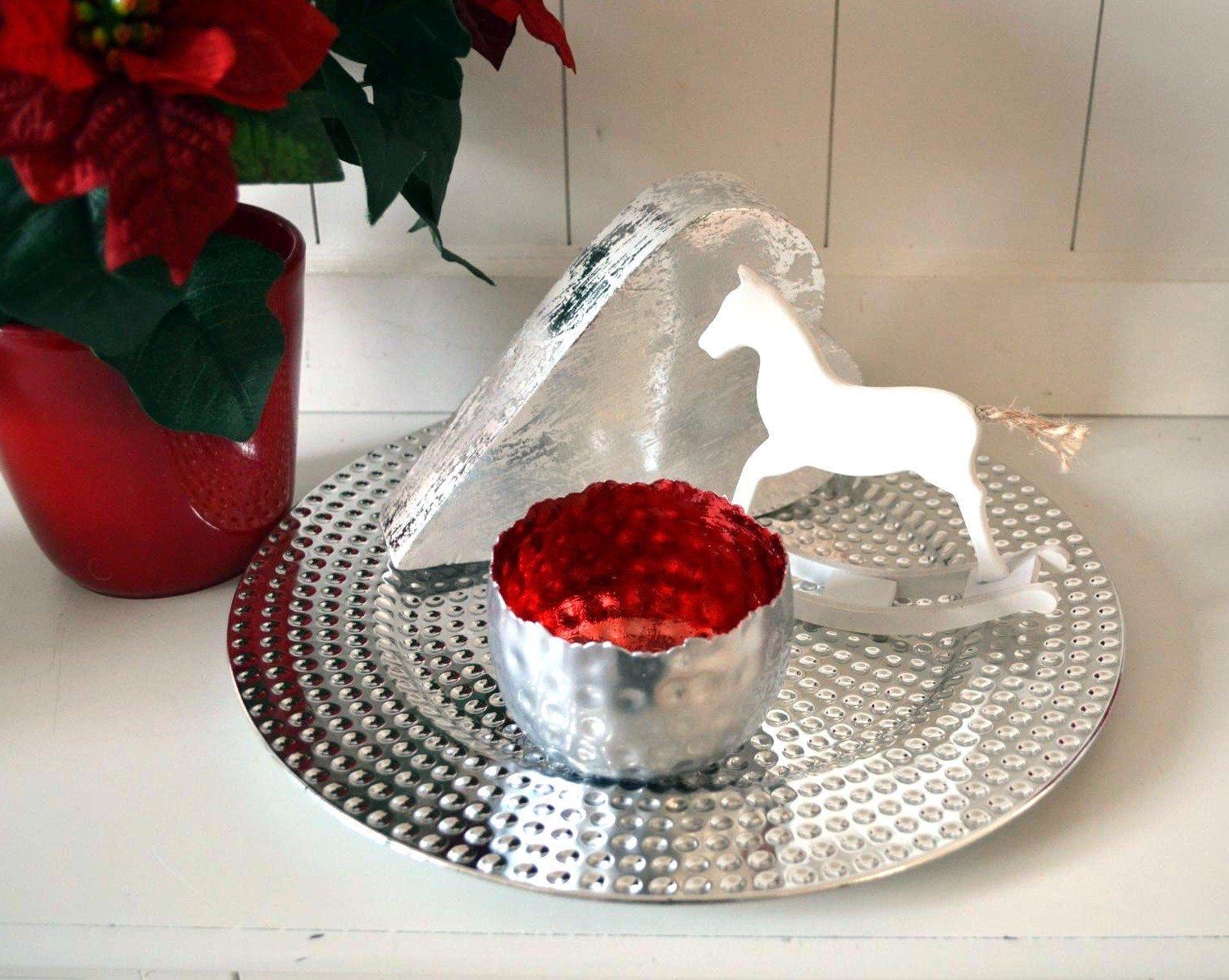 32cm Dekoteller Tablett Kunststoff Deko Dekoration Tischdeko Platzteller Kerzenteller silber ca
