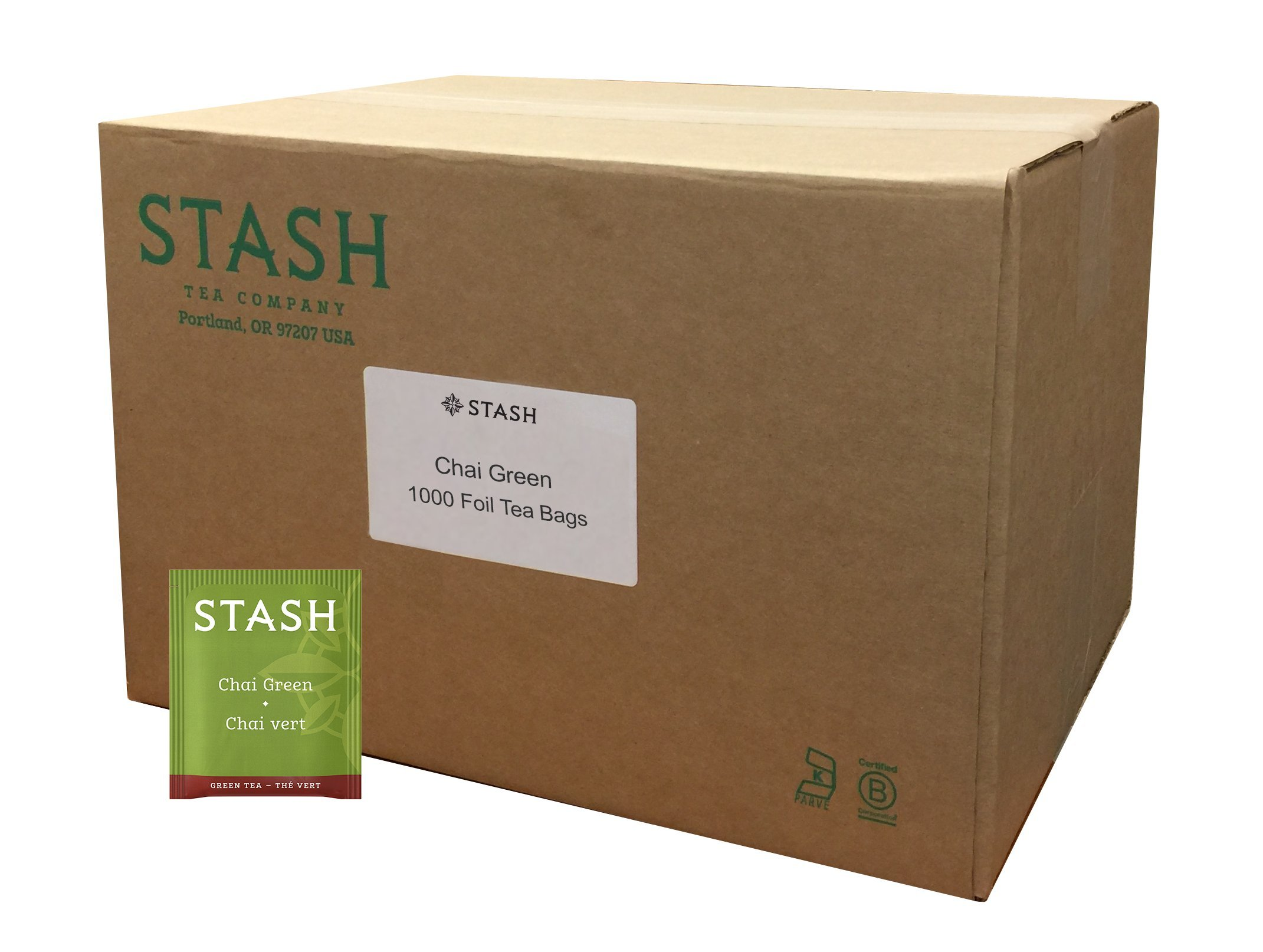 Stash Tea Green Chai Tea 1000 Count Tea Bags in Foil  Individual Spiced Green Tea Bags for Use in Teapots Mugs or Teacups, Brew Hot Tea or Iced Tea, Add Milk for Chai Latte