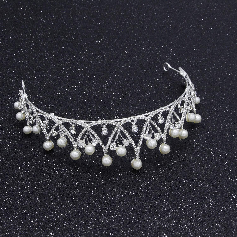 Wedding Crown, Bridal Wedding/Prom Hair Pins/Headdress Accessories/Party/Girls Pearl Diamond Bride Crown Hair Ornament Wedding Bride Accessories Wedding Dress Accessories by Junson (Image #2)