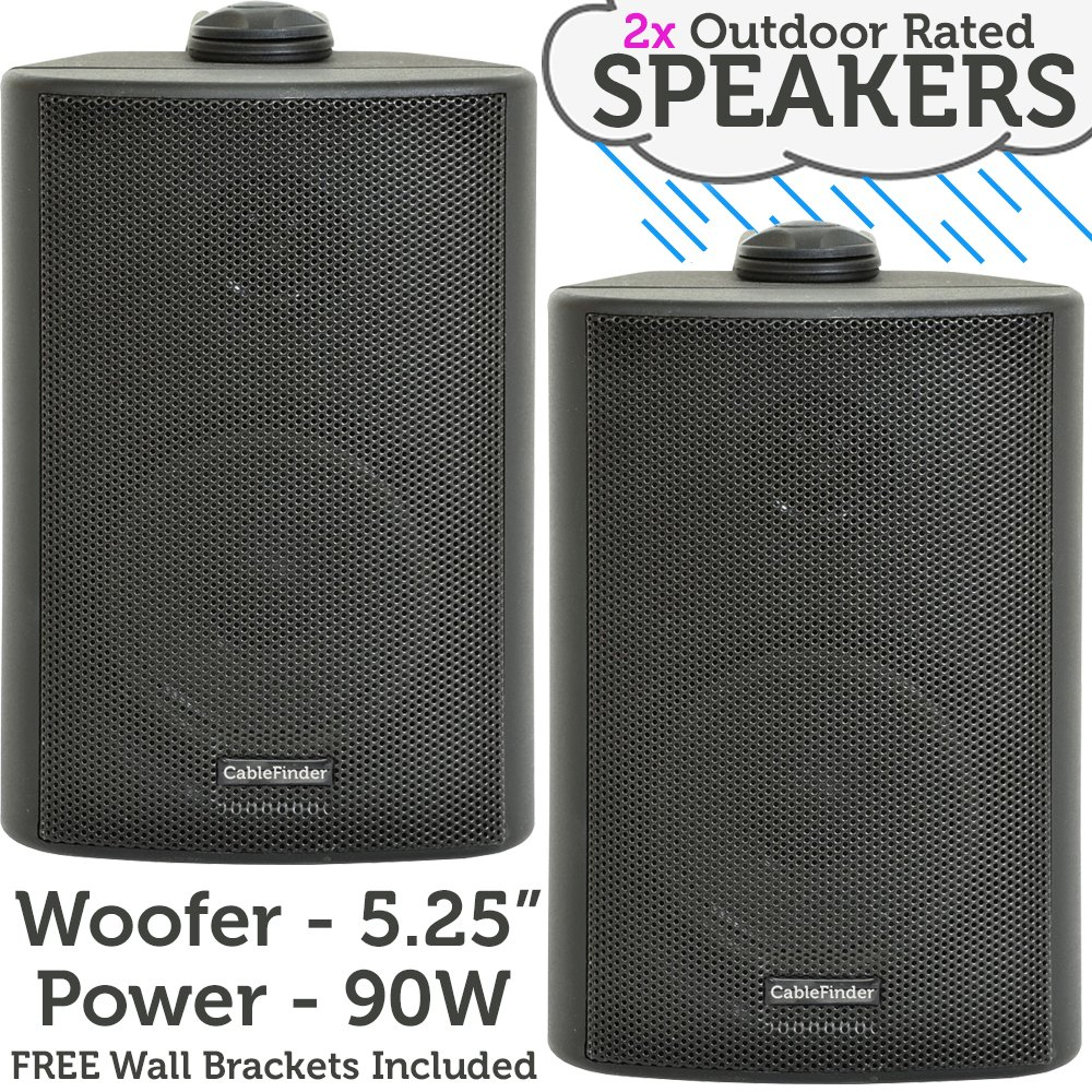 "(PAIR) 2x 5.25"" 90W Black Outdoor Rated Speakers *Wall Mounting HiFi Brackets Included* 8Ohm & 100V Perfect for Outside Garden Parties, Rain & Weatherproof IP54 Passive Cabinet - Loops 3054x2"