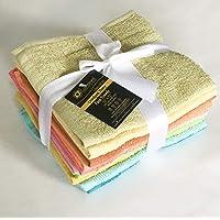 Lushomes Cotton Face Cloth Towel (12x12-inch) - Multicolour - 10 pcs