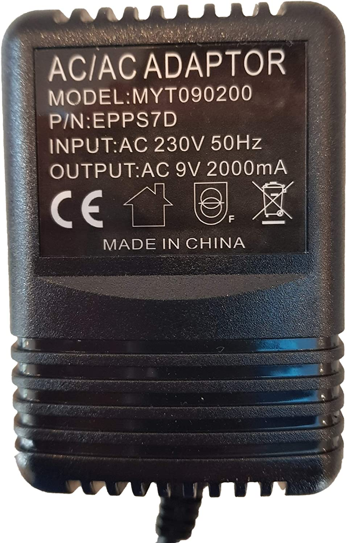 Alimentation de remplacement pour Kurzweil Rumour Stereo Reverb Adapter Ac 9V 2000Ma