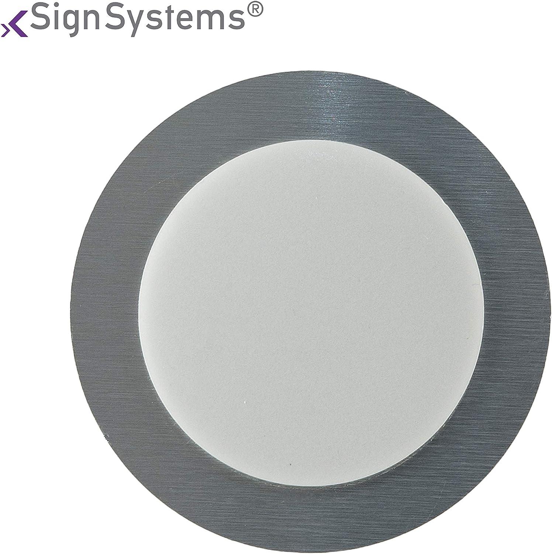 Tello T/ürschild Piktogramm mit Klebepad /Ø 7,0 cm Aluminium rund Dr/ücken