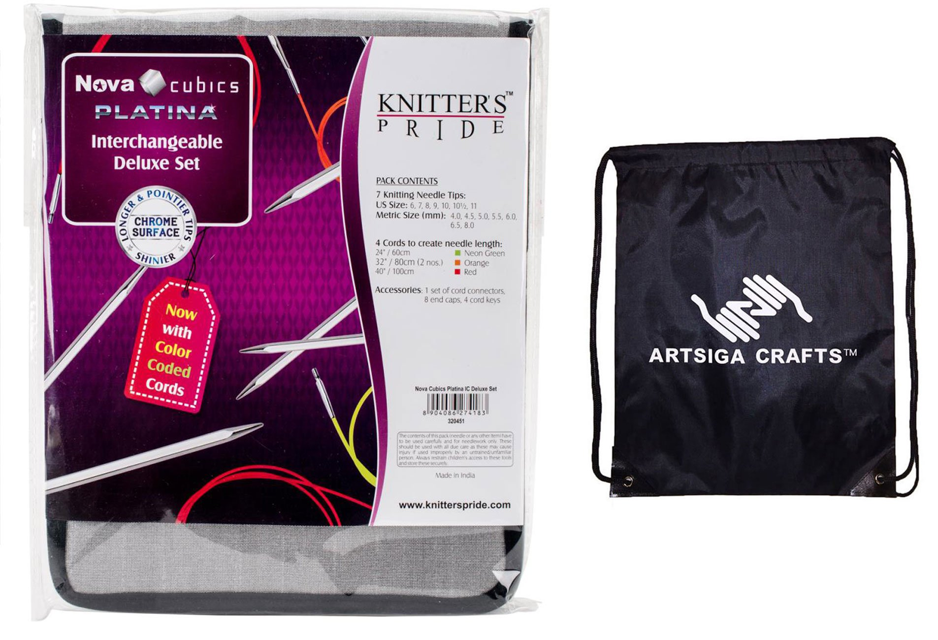 Knitter's Pride Nova Cubics Platina Deluxe Interchangeable Tip Knitting Needles Set Deluxe Set (Normal IC) Bundle with 1 Artsiga Crafts Project Bag 320451