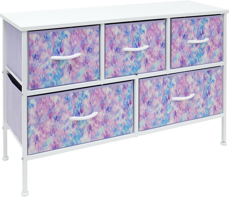 Sorbus Dresser with 5 Drawers - Furniture Storage Chest for Kid's, Teens, Bedroom, Nursery, Playroom, Clothes, Toys - Steel Frame, Wood Top, Fabric Bins (5-Drawer, Tie-dye Blue/Pink/Purple)