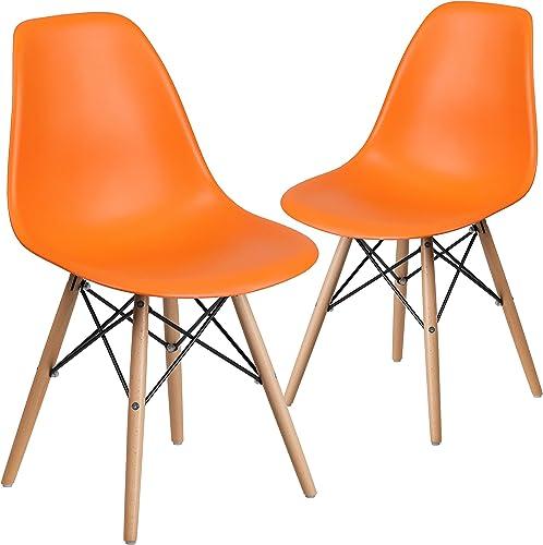 Flash Furniture 2 Pack Elon Series Orange Plastic Chair