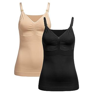 Herzmutter Still-Top | Nahtloses-Seamless Unterhemd mit integrierter Stillfunktion | Figurformendes-Shaping-Top mit Bustier |