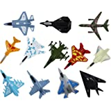 Airplane Toys Set of 12 Die Cast Metal Military Themed Assorted Fighter Jets For Kids, Boys or Girls - Great Gift, Party Favors or Cake Toppers