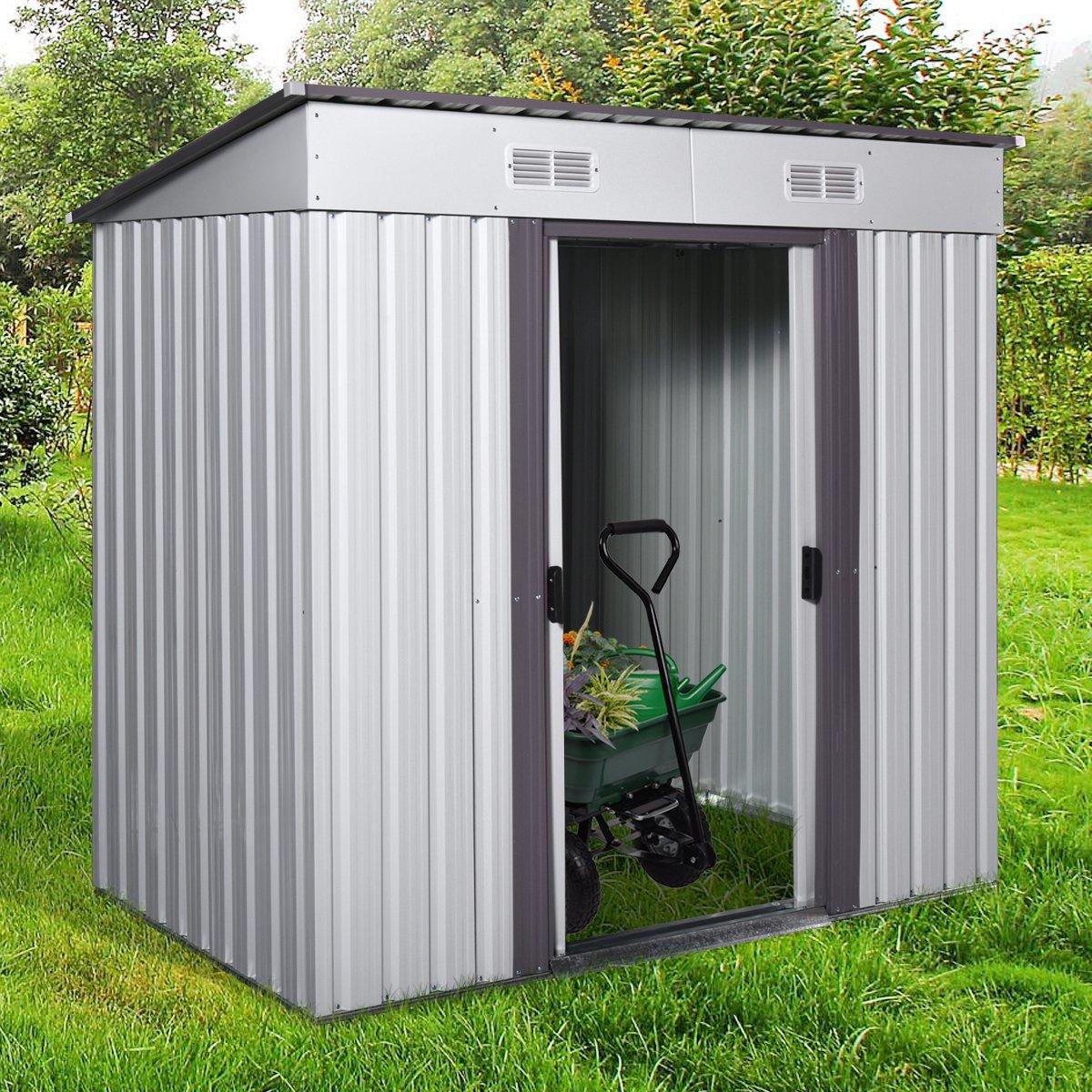 4' x 6' Metal Garden Storage Shed Utility Outdoor Backyard Lawn Tool House w/Sliding Door White and Warm Grey
