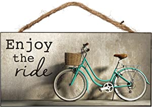 P. Graham Dunn Vintage Green Bicycle Wooden Sign with Jute Rope Hanger
