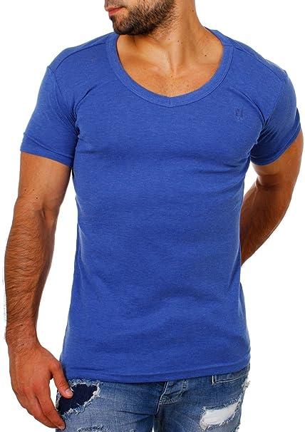 Young&Rich Herren Uni Feinripp Basic T-Shirt Tiefer Runder V-Ausschnitt  Slimfit Deep Round V-Neck Einfarbig 1874: Amazon.de: Bekleidung