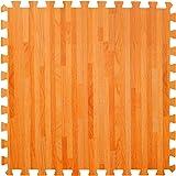 Grande Materassino effetto legno in schiuma ad incastro - Perfetto come piano di protezione, in garage, per esercizio fisico, lo yoga, la stanza dei giochi. Schiuma EVA (6 piastrelle, legno naturale)