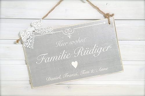 Türschild Shabbyschild Klingelschild Name Familie Eingangsschild Dekoschild Holz