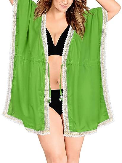 e88fdba92ff LA LEELA Beach Swimsuit Bikini Cardigan Cover up Green N140 OSFM 14-28  L-