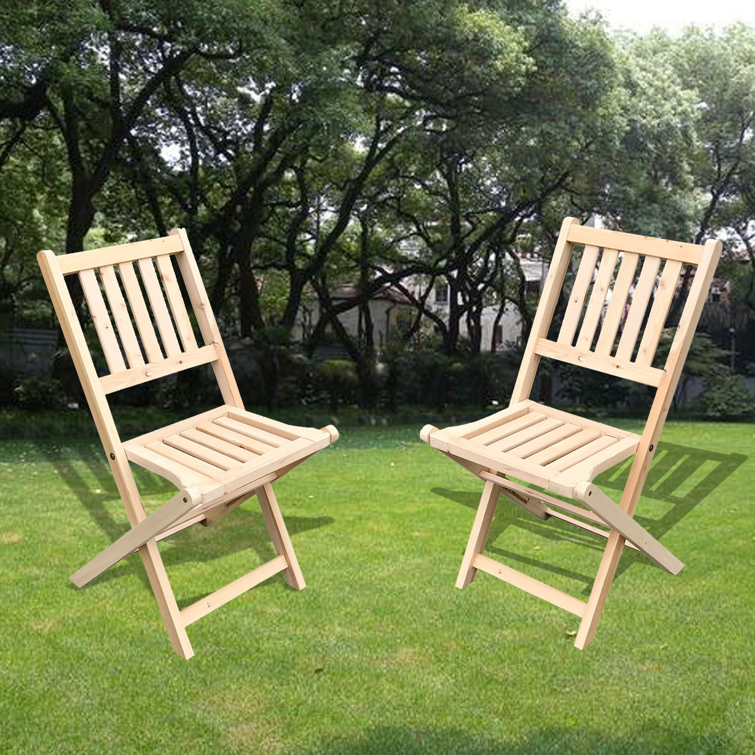 UHOM 2PCS Wooden Folding Chair Outdoor Garden Wood Slat Seat Indoor Deck Furniture Natural Finish