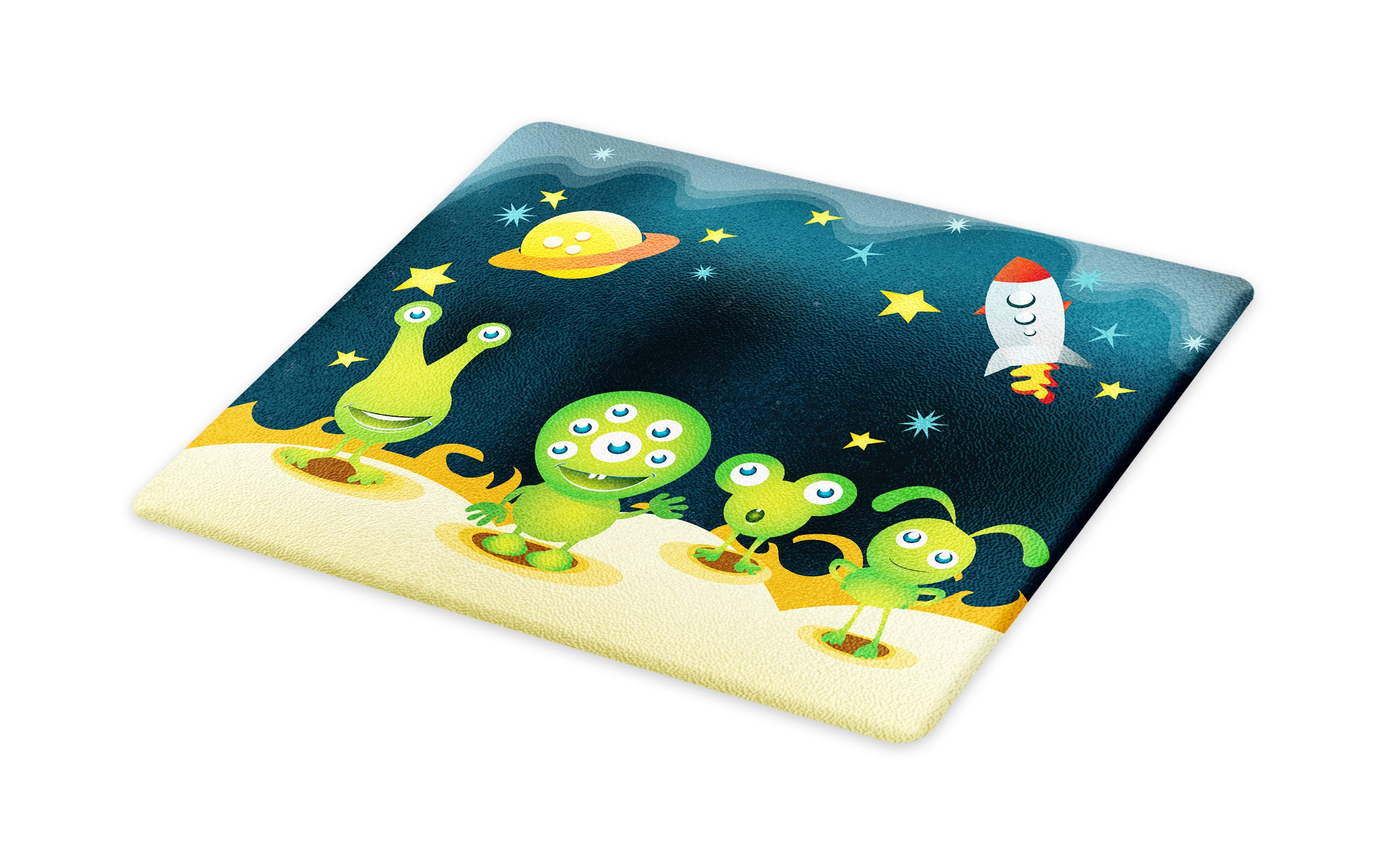 Lunarable Outer Space Cutting Board, Aliens on Mars Surface Galaxy Solar System Objects Orbit Rockets Humor Design, Decorative Tempered Glass Cutting and Serving Board, Large Size, Multicolor