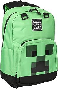 "JINX Minecraft Creeper Creepin' Up Kids School Backpack, Green, 17"""