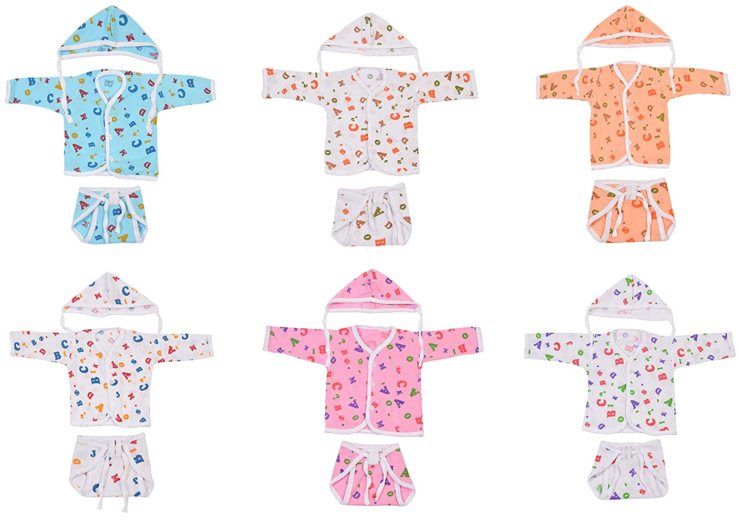 Baby Fly Baby Gift Pack of Baby Jhabla Set with Baby Nappy