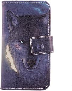 LANKASHI PU Flip Billetera Funda De Carcasa Cuero Case Protective Cover Piel para ZTE Blade V8 Pro Z978 (Wolf Design)