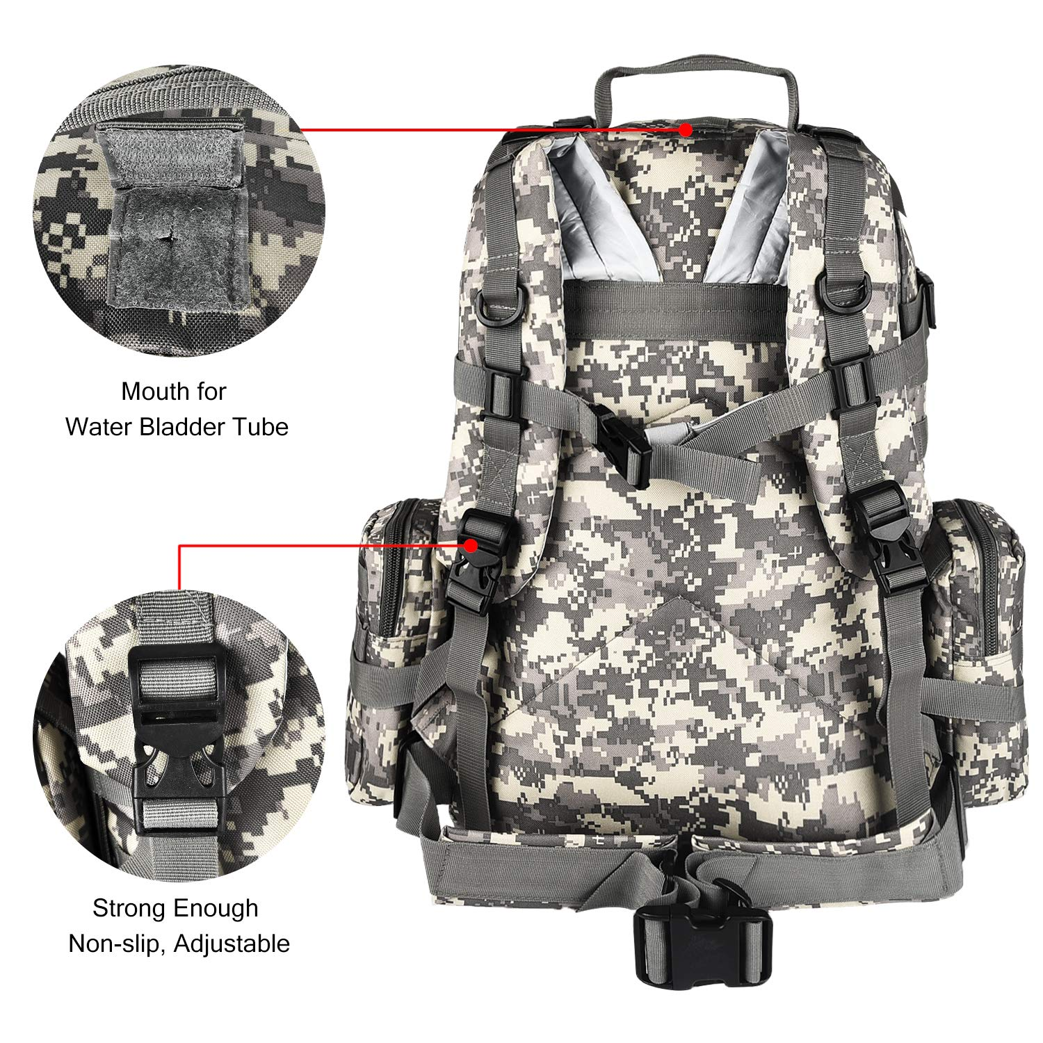CVLIFE Tactical Military Backpack 60L Built-up Army Rucksacks Outdoor 3 Day Assault Pack Combat Molle Backpack for Hunting Hiking Fishing with Flag Patch Camouflage ACU by CVLIFE (Image #8)