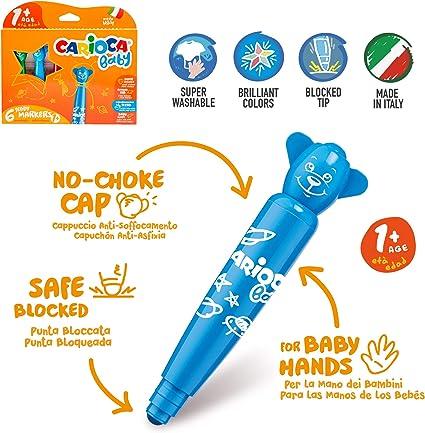 Teddy Buntstiften und Maxi Stiften f/ür Kinder ab 1 Jahr CARIOCA Baby Set Malvorlagen f/ür Kinder mit Teddy Markern 22 Teile