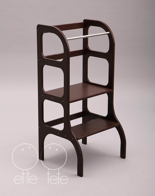 Little helper tower, Montessori learning stool, kitchen step stool - dark BROWN color