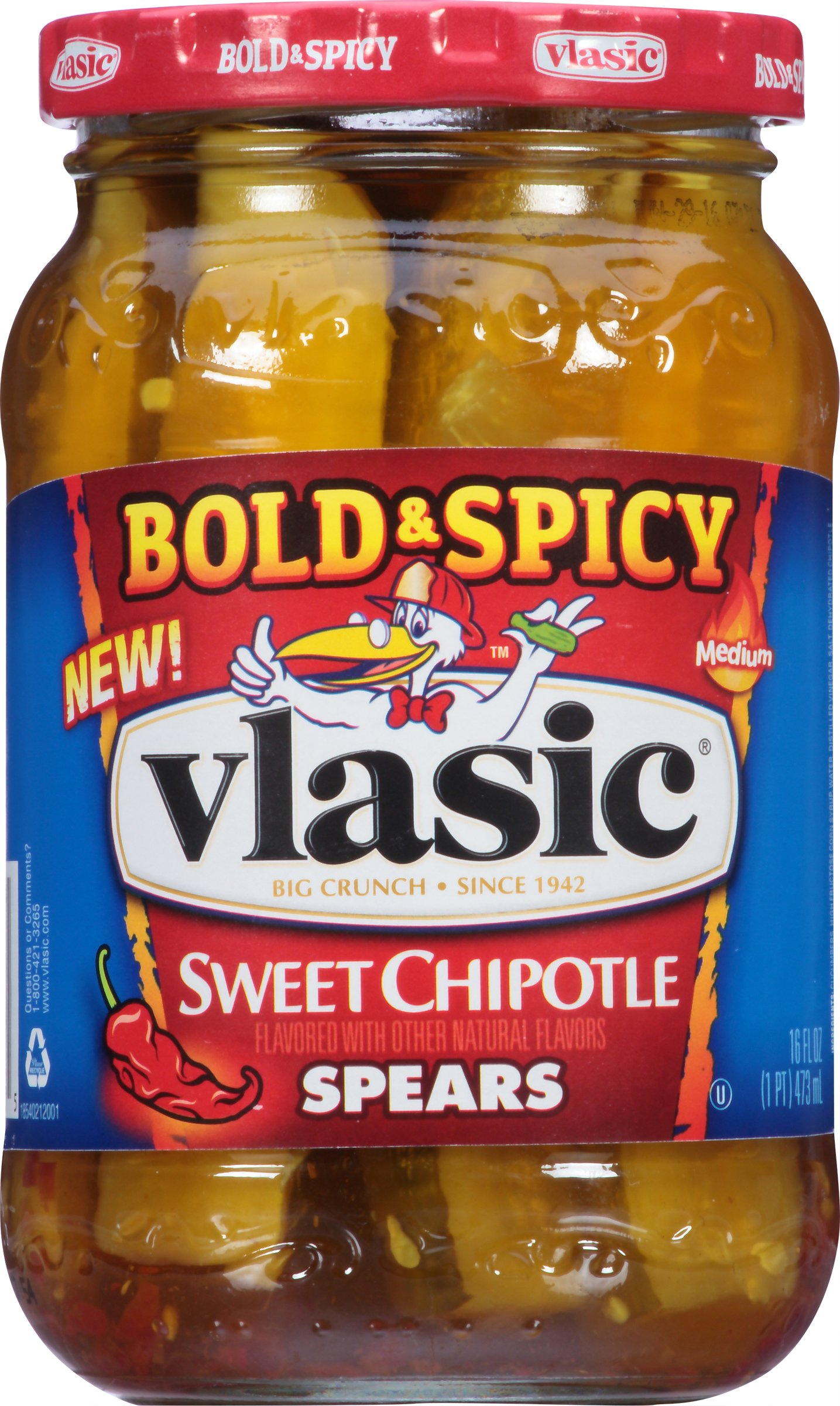 Vlasic Bold & Spicy Pickles, Sweet Chipotle Spears, 16 Ounce (Pack of 6) by Vlasic