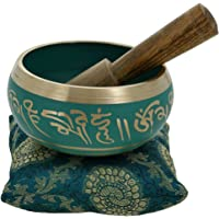 Hand Painted Metal Tibetan Buddhist Singing Bowl Musical Instrument for Meditation with Stick and Cushion 4 inches