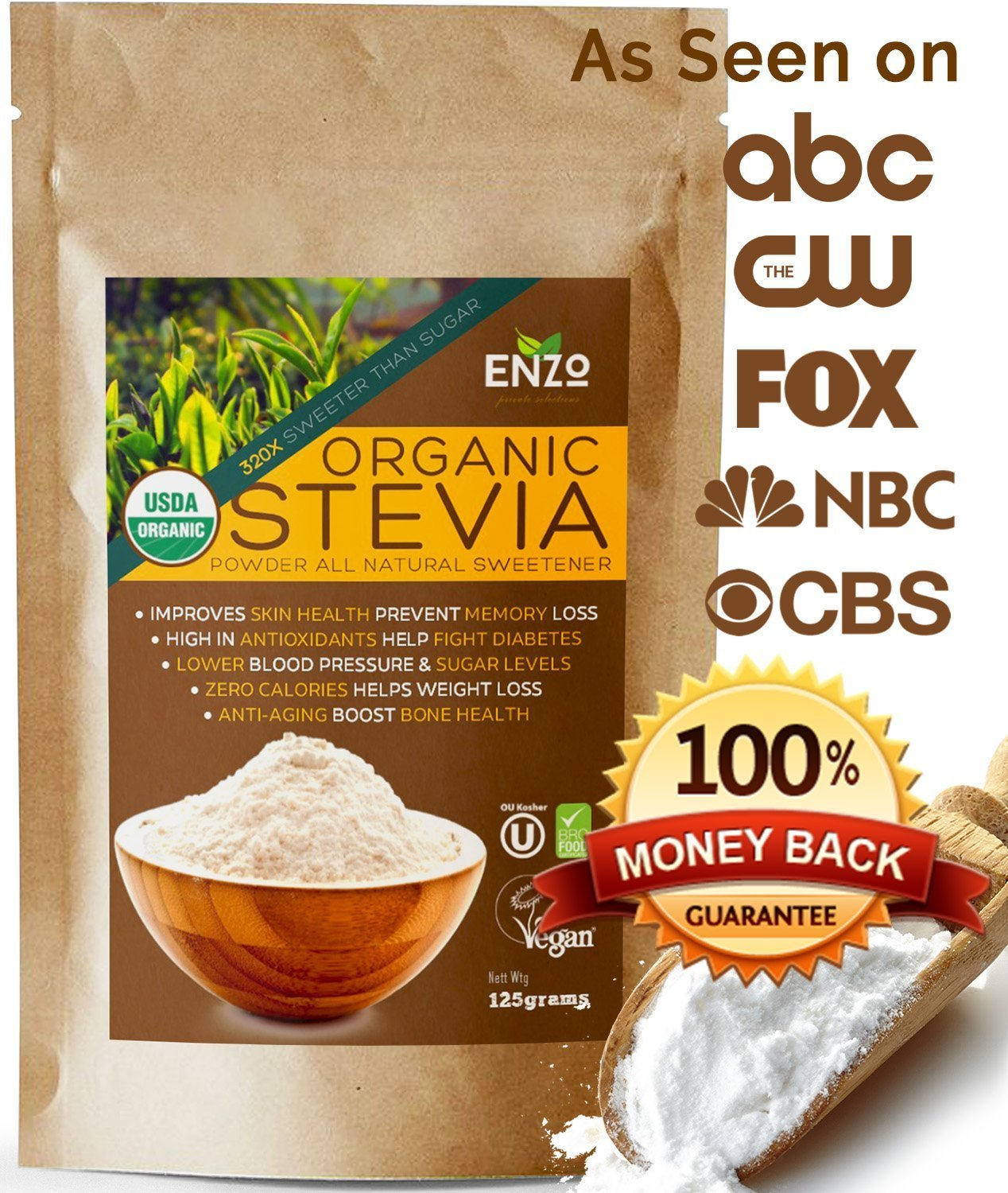Organic Stevia Powder 125g (4.4oz/3125 Servings) Premium USDA Certified All Natural Alternative Sweetener 320x Sugar Free Non-GMO 0 Calories Vegan No Aftertaste Kosher No additives & fillers Extract by Enzo's Private Selection