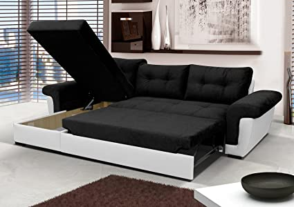 Corner Sofa Bed with Storage - Black Fabric/White Leather