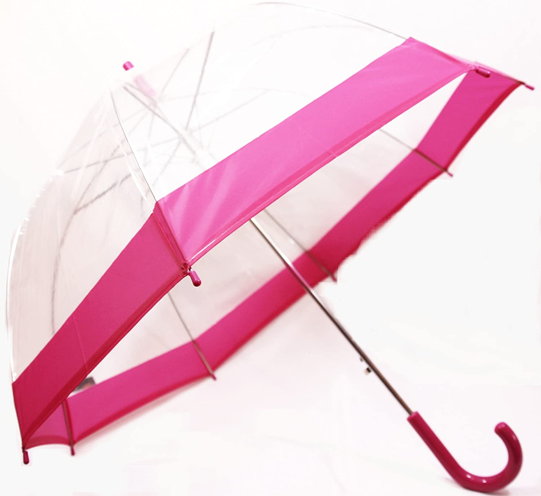 Schö ner Regenschirm, transparent, durchsichtig mit Rand in dunklem Rosa / Pink , Automatik Susino