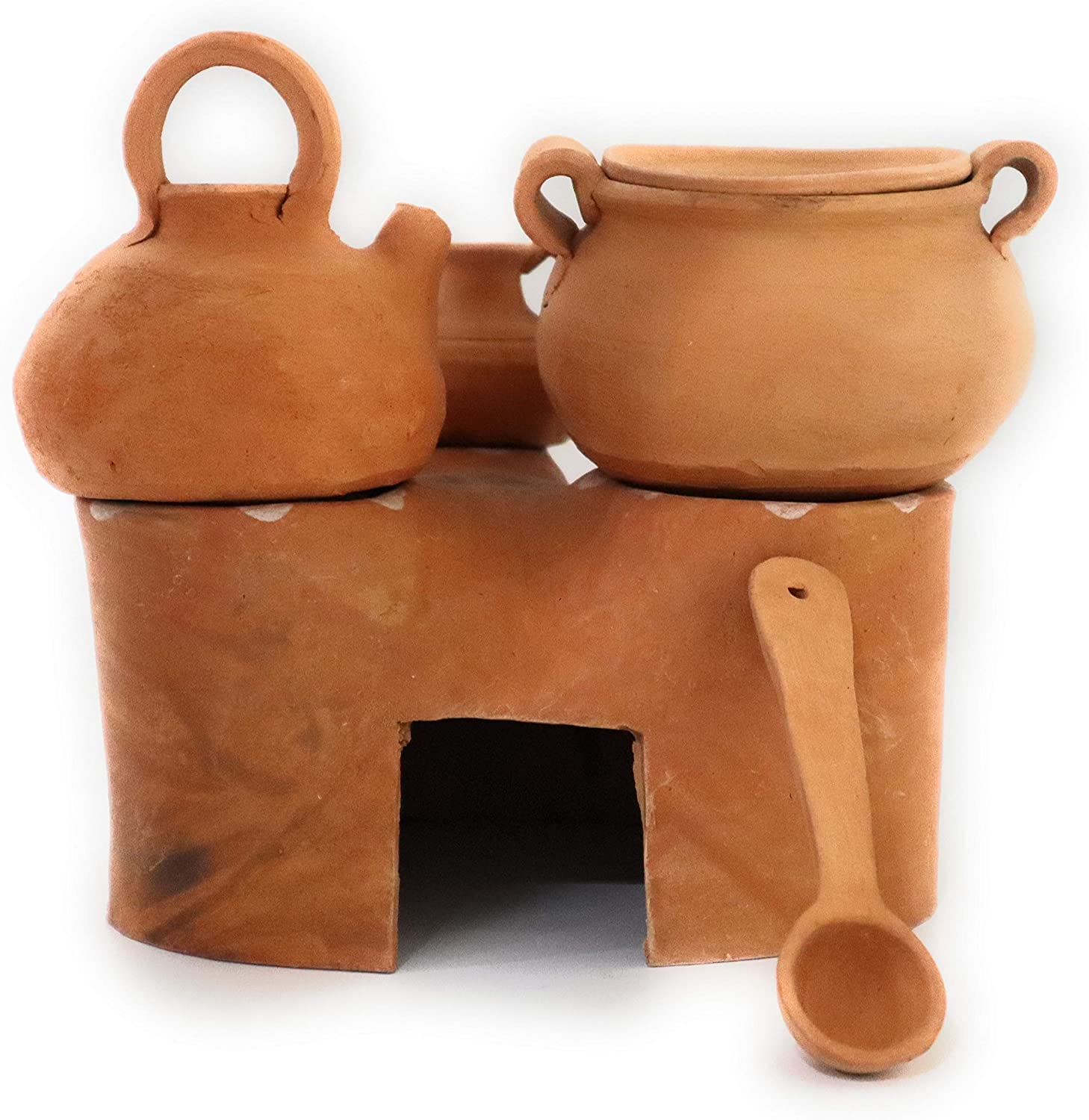 """Traditional Wood Fired Stove Made of Mud. Decorative Ceramic of Traditional Stove Used in The Andes. Height: 6.30"""""""
