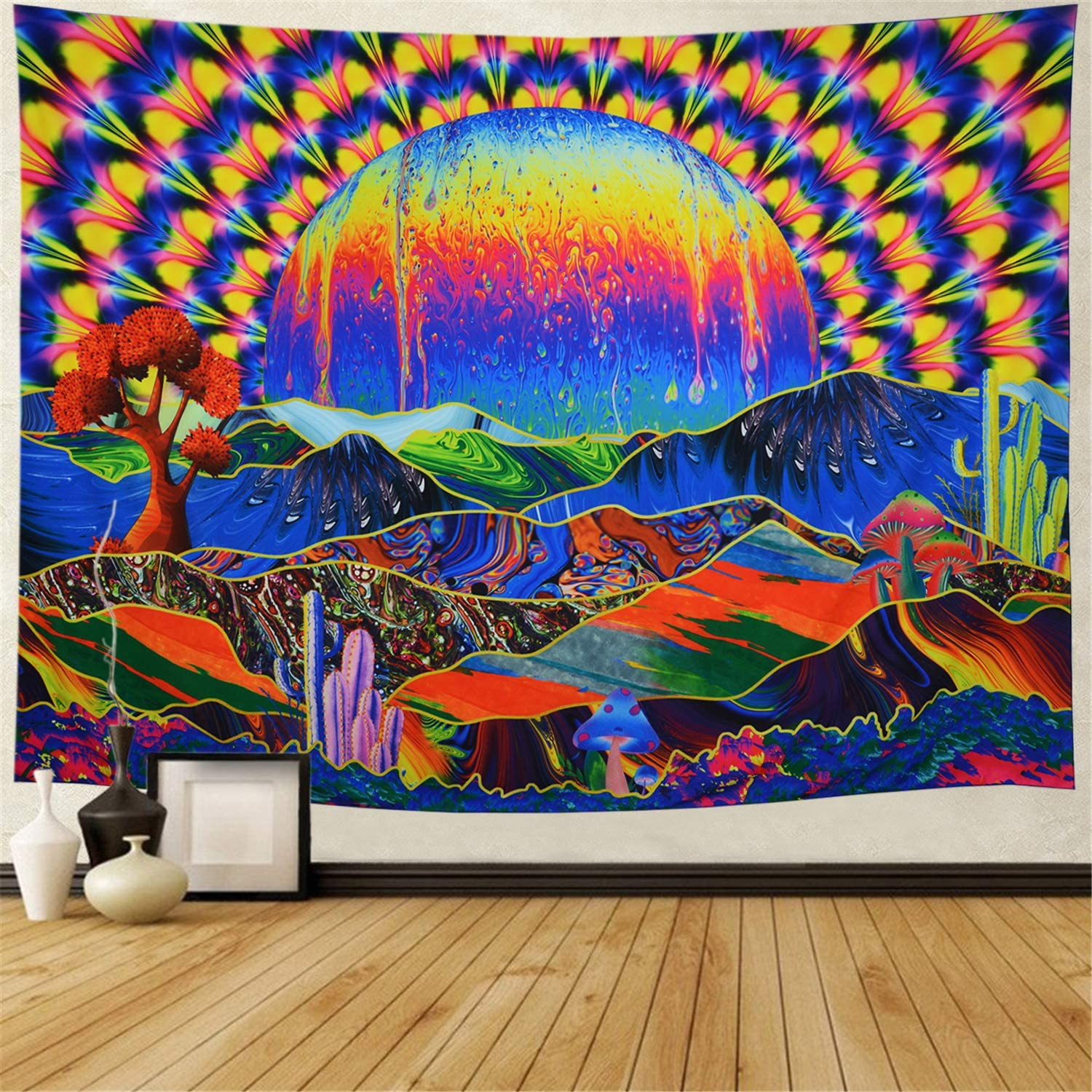 "Trippy Tapestry Planet and Mountains Wall Tapestry Psychedelic Tapestry Mushrooms Cactus Wall Hanging Tapestry Mountian Tree Tapestries for Living Room Dorm Decor W78""×H59"""