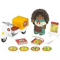 Sylvanian Hedgehog Father Delivery Set Families Livreur De Pizza Scooter Et Figurine, 5238, Multicolore