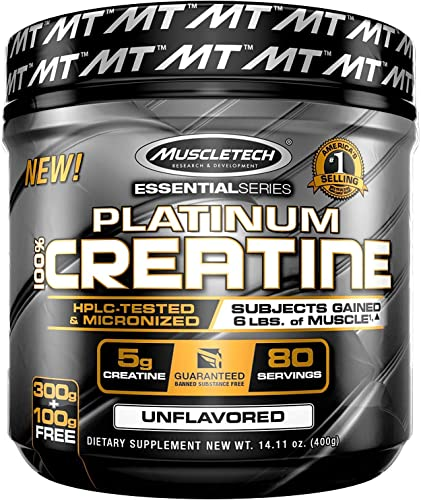 MuscleTech Platinum Creatine Monohydrate Powder, 100 Pure Micronized Creatine Powder, 14.1oz 80 Servings