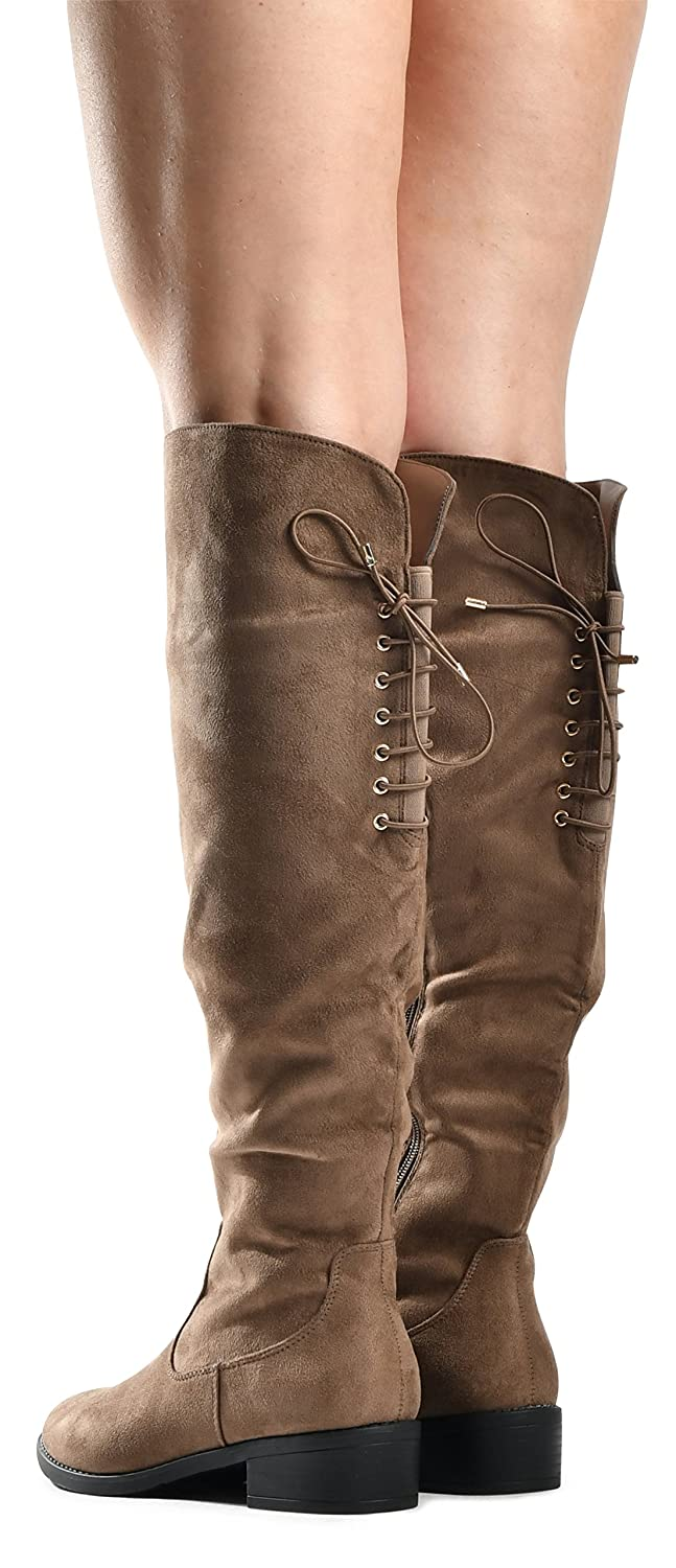 LUSTHAVE Womens Knee High Flat Boots Lace Up Cushioned Lining Drawstring Tall Western Riding Boots
