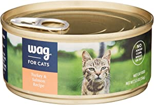 Amazon Brand - Wag Wet Cat Food, Turkey & Salmon Recipe, 5.5 oz Can (Pack of 24)