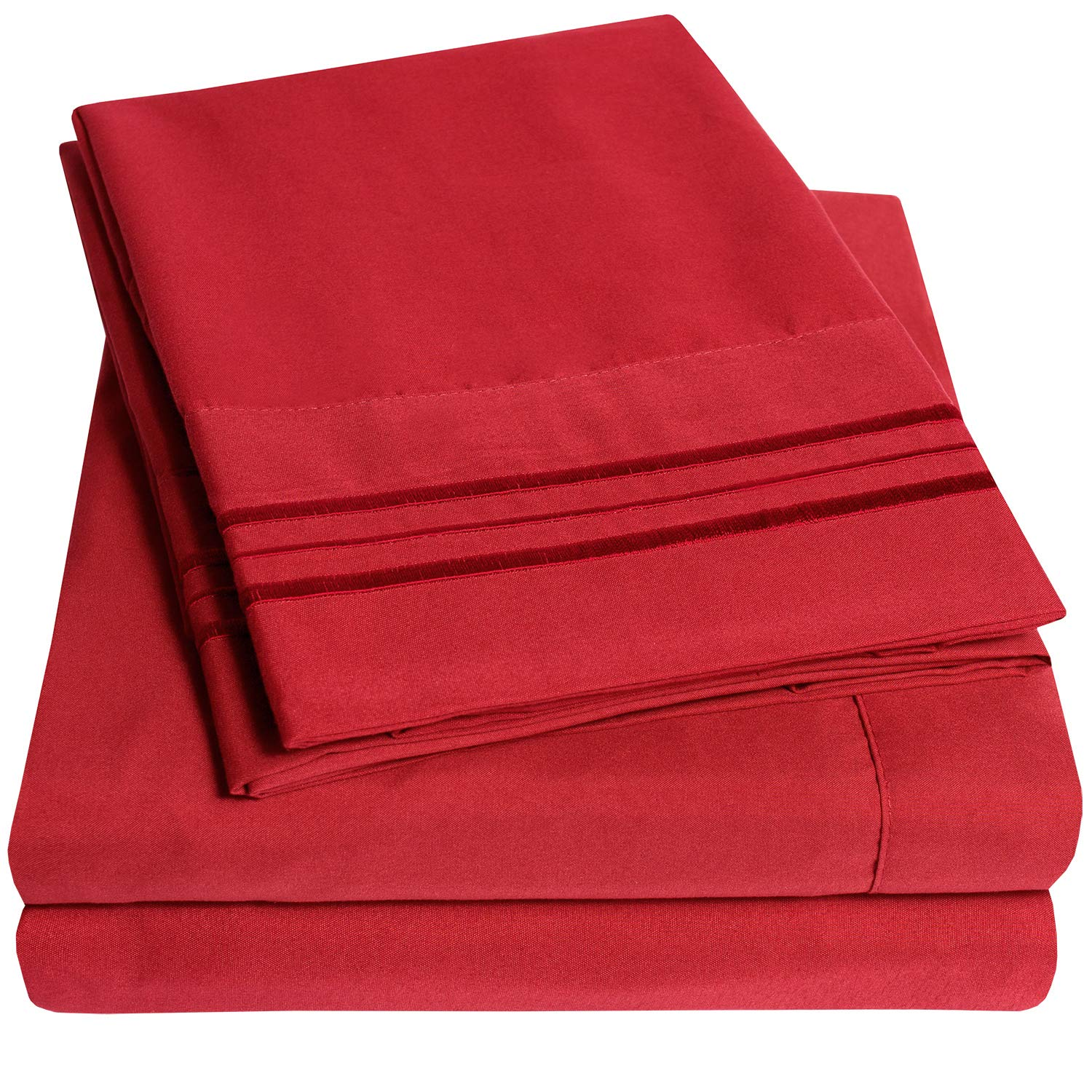 1500 Supreme Collection Bed Sheets Set - Luxury Hotel Style 4 Piece Extra Soft Sheet Set - Deep Pocket Wrinkle Free Hypoallergenic Bedding - Over 40+ Colors - Queen Size, Red