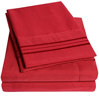 1500 Supreme Collection Bed Sheets Set - Premium Peach Skin Soft Luxury 4 Piece Bed Sheet Set, Since 2012 - Deep Pocket Wrinkle Free Hypoallergenic Bedding - Over 40+ Colors - Full, Red