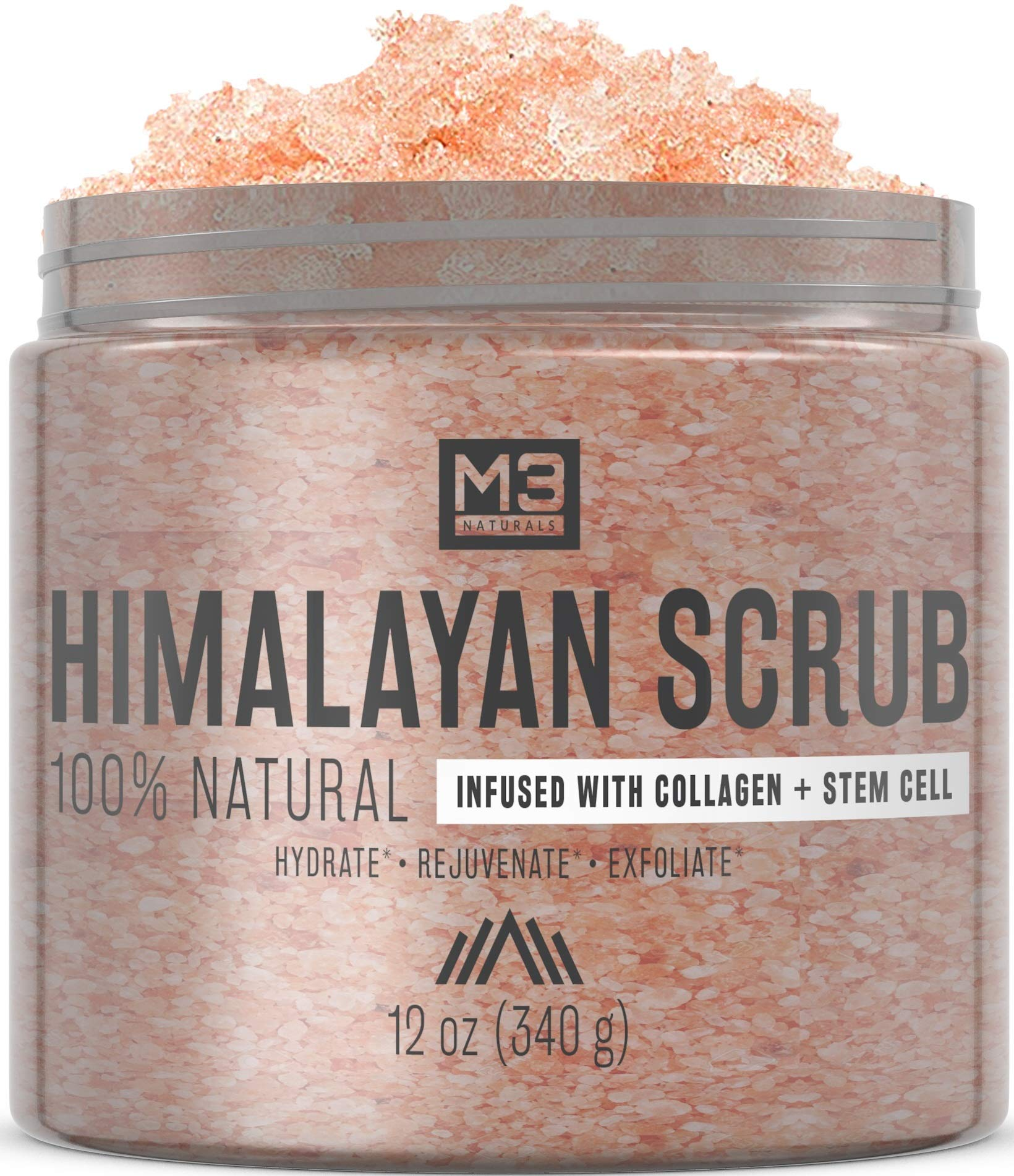 M3 Naturals Himalayan Salt Scrub Infused with Collagen and Stem Cell All Natural Body and Face Exfoliating Facial Wash Blackheads Acne Scars Pore Minimizer Exfoliator Anti Cellulite Souffle Skin Care by M3 Naturals